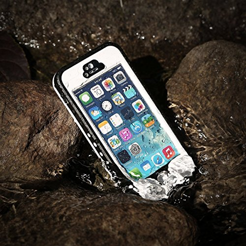 iPhone 5S Waterproof Case, Bessmate IP 68 Waterproof, Dustproof, Snowproof, Shockproof Protrctive Carrying Cover Cases with Fingerprint Recognition Touch ID for iPhone 5S (White) by Bessmate™ (Image #6)