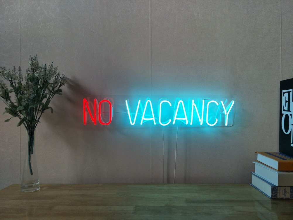 No Vacancy Real Glass Neon Sign For Bedroom Garage Bar Man Cave Room Home Decor Handmade Artwork Visual Art Dimmable Wall Lighting Includes Dimmer Artist Emily Ryder