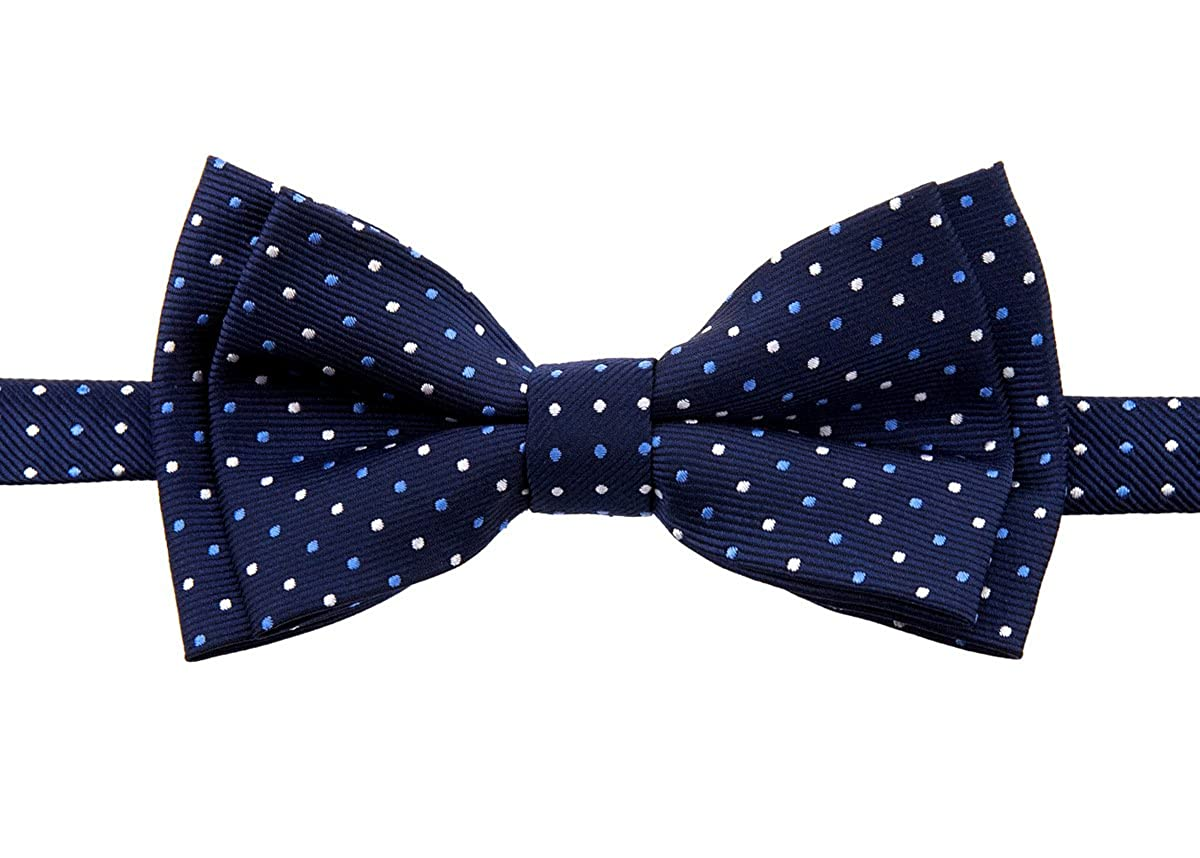 Retreez Dual Color Mini Polka Dots Woven Microfiber Pre-tied Boys Bow Tie