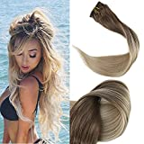 Full Shine 14' 100gram 10 Pcs Remy Balayage Clip in Hair Extensions Dark Brown Color #8 Fading to Color #60 Platinum Blonde Balayage Human Hair Extensions Clip in Real Hair