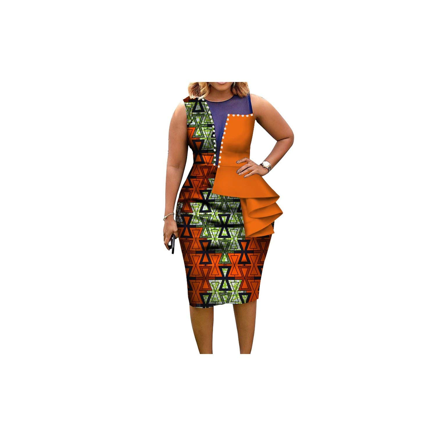 African Dresses for Women African Print Cotton Midi Dress Sleeveless Elegant Party Clothes,3,XXL