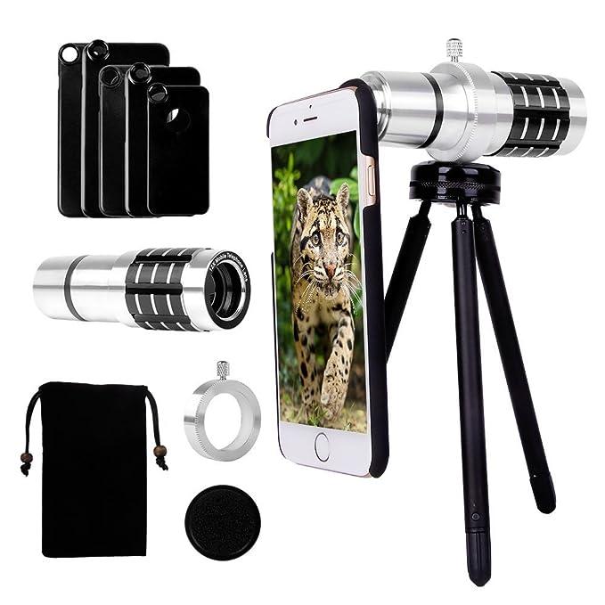 cheaper 5b01f 13e8c Telephoto lens for iPhone 8/8 Plus/ 7/7 Plus/ iPhone 6s Plus/ 6s/ 6 Plus/  6/ 5s/ 5, Yarrashop Camera Lens Kit 12x Aluminum Telephoto Lens + Aluminum  ...