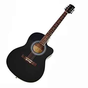 ts-ideen Western - Guitarra acústica, calidad estándar, tamaño regular (4/4), color negro