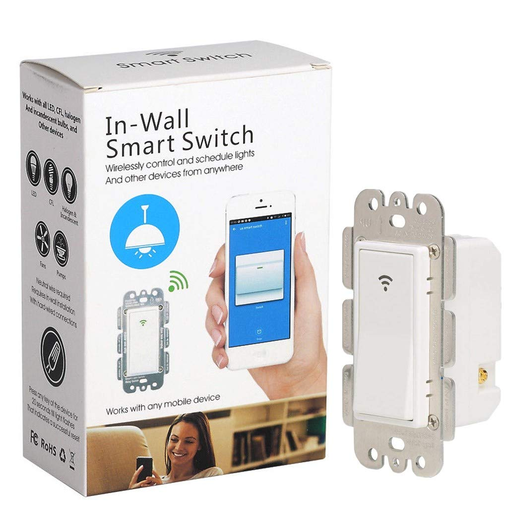 Wifi Smart Light Switch Works With Amazon Alexa Google Assistant & IFTTT,Rocker Switch,Remote Control Timing Function No Hub Required Single-Pole Netural Wire Required(1-pack rocker switch)