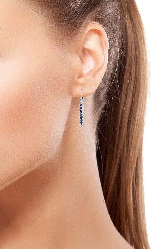 Elanza Boucles doreilles cr/éoles pour femme en argent sterling 925 avec zircone cubique Bleu 1,85 ct