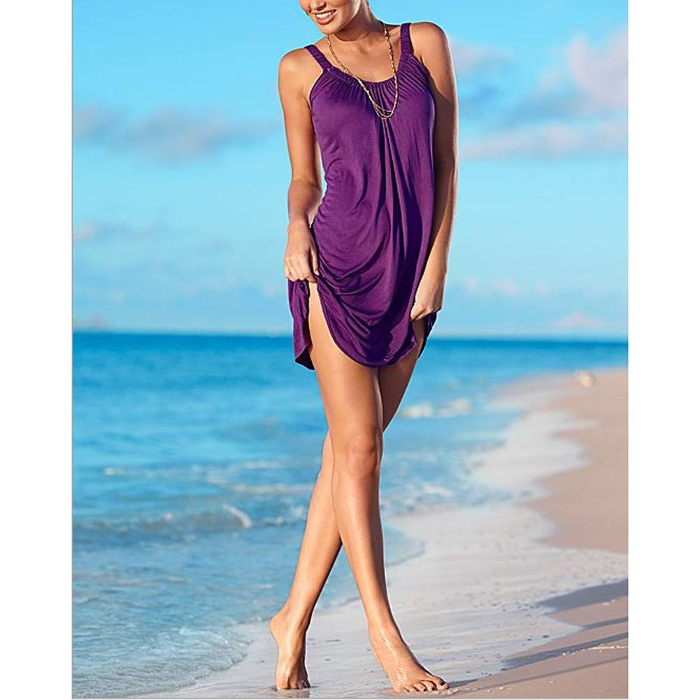 Vestido Verano Mujer Casual Sin Mangas Cuello Redondo Vestido Playa Moda Suelto Vestido Corto