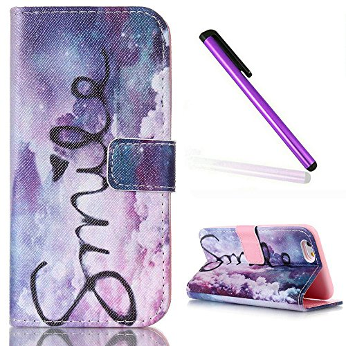 iPhone 6S Case, iPhone 6 Wallet Case,EMAXELER iPhone 6S Flip Folio Case,Beautiful illustration PU Leather Flip Protective Case Cover with Stand Wallet for Apple iPhone 6/6S-Air Smile