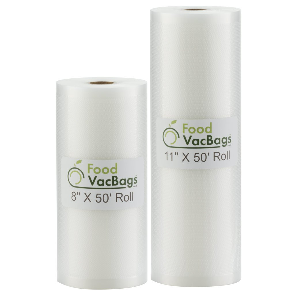 Two FoodVacBags Rolls of 4 mil Vacuum Sealer Bags, One 8'' W x 50' L and One 11'' W x 50' L