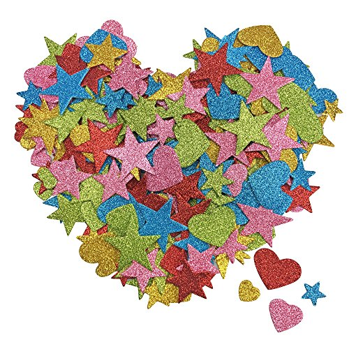 - 250 PCS Foam Glitter Self Adhesive Heart and Stars Shapes Stickers for Kids Arts Craft Supplies Greeting Cards Home Decoration