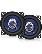 "$22 » 4"" Car Sound Speaker (Pair) - Upgraded Blue Poly Injection Cone 2-Way 180 Watt Peak w/ Non-fatiguing Butyl Rubber Surround 110 - 20Khz Frequency Response 4 Ohm & 3/4"" ASV Voice Coil - Pyle PL42BL"