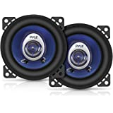 "4"" Car Sound Speaker (Pair) - Upgraded Blue Poly Injection Cone 2-Way 180 Watt Peak w/ Non-fatiguing Butyl Rubber…"