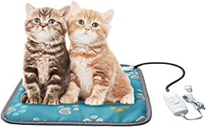EACHON Heating Pad for Cats for Small Dogs Electric Heated Pet Beds Pets Warmer Safety Mats Adjustable Waterproof Chew Resistant Steel Cord (17.717.7 in Blue)