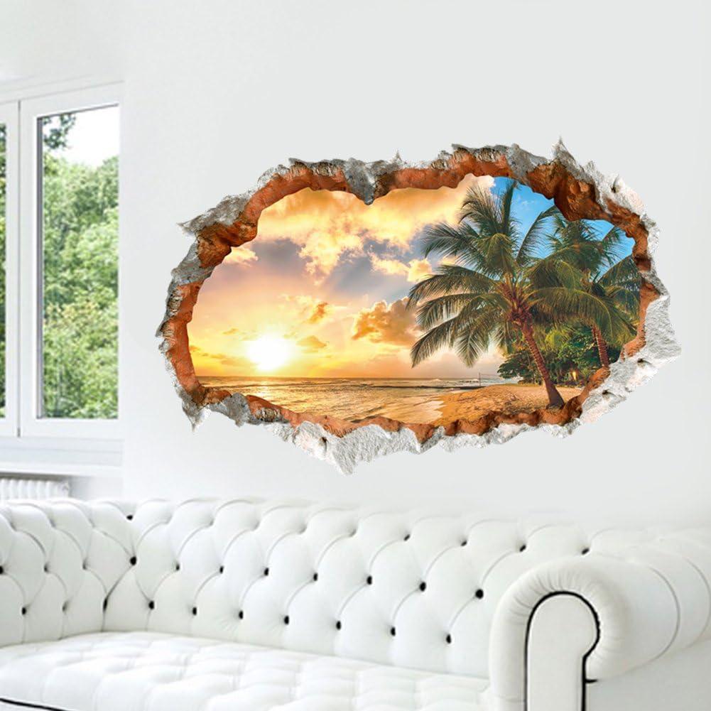 FANGLEE Sunny beach 3D broken wall vinyl wall stickers for ...