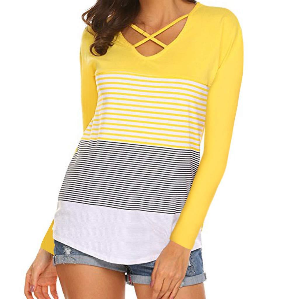Damen Langarmshirt Shirt Bluse Tunika Oberteile Langarm Streifen Farbblock Loose Rundhals Tunika Oberteile Tops Patchwork
