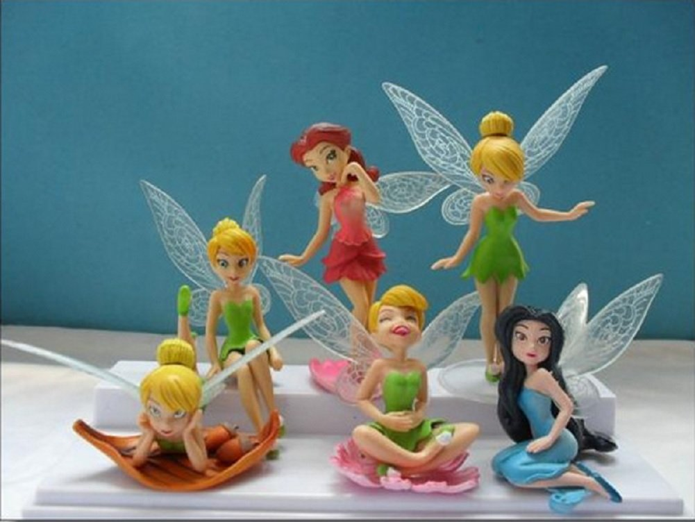 6 Piece Tinkerbell Fairy Figure Display Cake Topper Set Product Kingdom