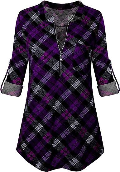 TOFOTL - Blusa para mujer, elegante y encantadora, cuello en V, camiseta a cuadros única con cremallera, manga larga y moderna, para el trabajo diario morado M: Amazon.es: Ropa y accesorios