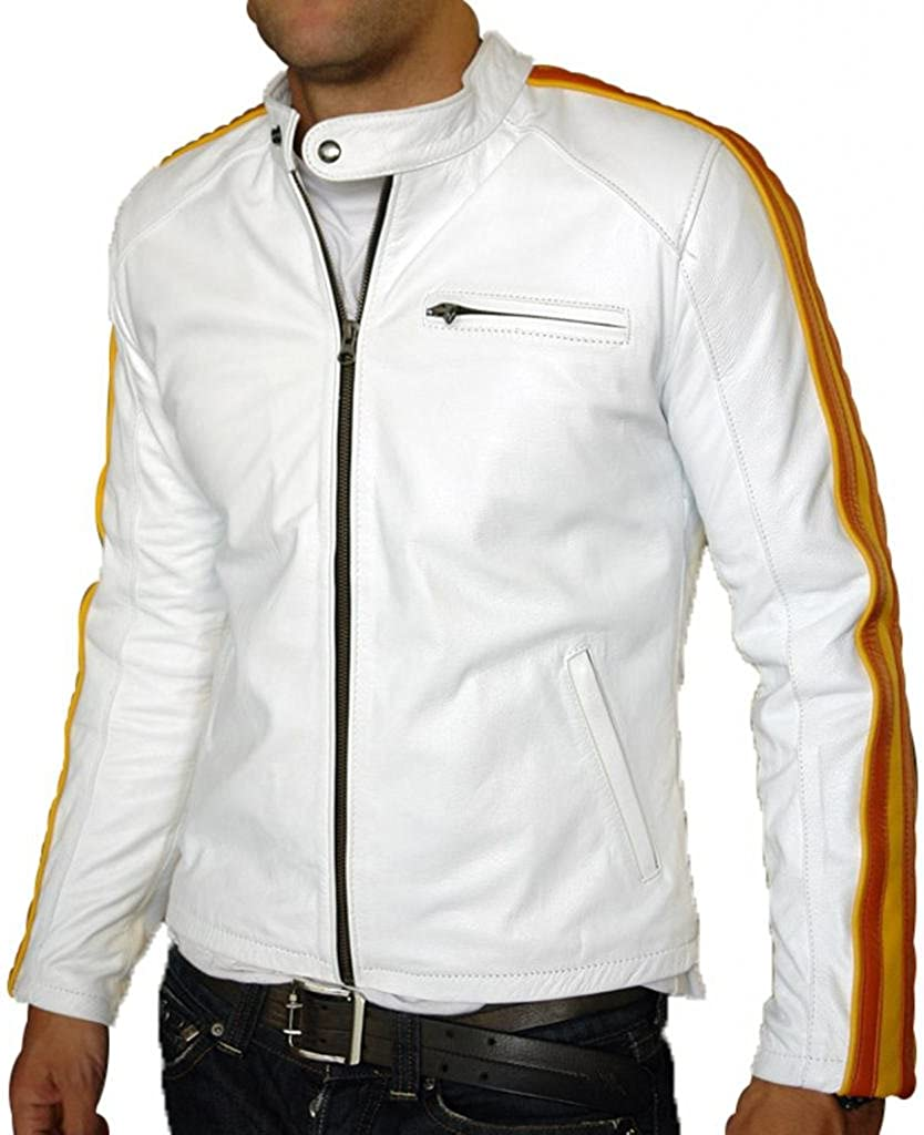 Stylish Men Biker Motorcycle Zipper Slim Fit Leather Casual Jacket A428