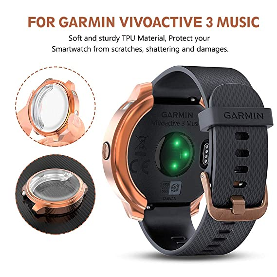 Ximu Compatible con Garmin VivoActive 3 Music Caso Protector de Pantalla [2 Paquetes] TPU Full-Cubierta Cubierta Resistente a los arañazos para Garmin ...