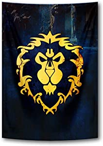 Tapestry Banner Flags Blue Cool Game Wall Posters Wall Scroll Poster with World of Warcraft Horde Symbol Red Home Decor Fabric Painting 39x59 Inch (Blue)
