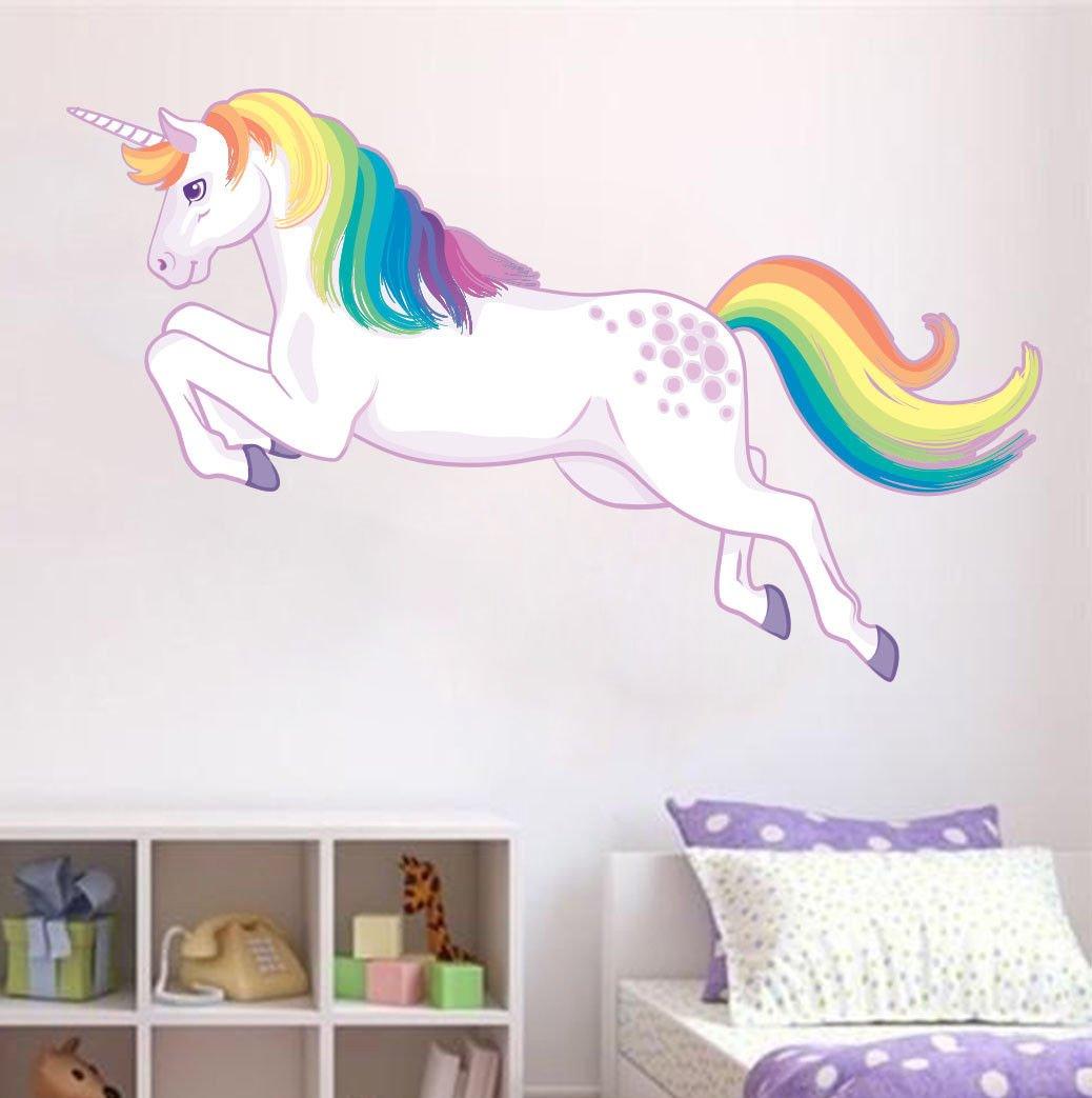 Unicorn Jumping Wall Sticker Rainbow Mane Decal Girls Room Nursery Decor Fantasy Boultons Graphics