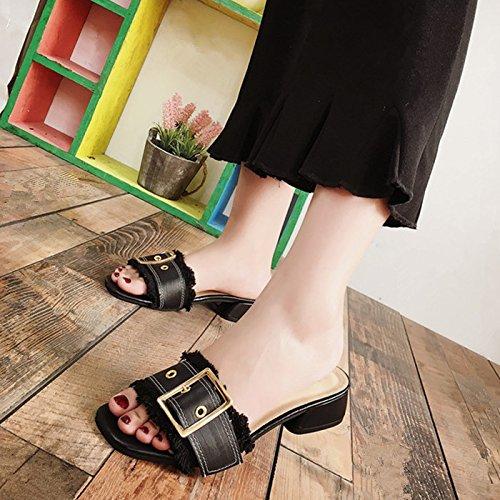 Mujer Calzado Word GAOLIM De Con A Calzado Zapatillas Fresco Metálica Primaveral Y Hebilla Negro Baja Zapatillas Mujer qwqHCxzv