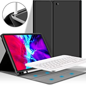 KenKe New iPad Pro 11 2020 Wireless Bluetooth Keyboard Case Detachable Bluetooth Rechargeable Cover with Pencil Holder Support Apple Pencil,Smart Case Keyboard for iPad Pro 11 inch 2020 2018-Black