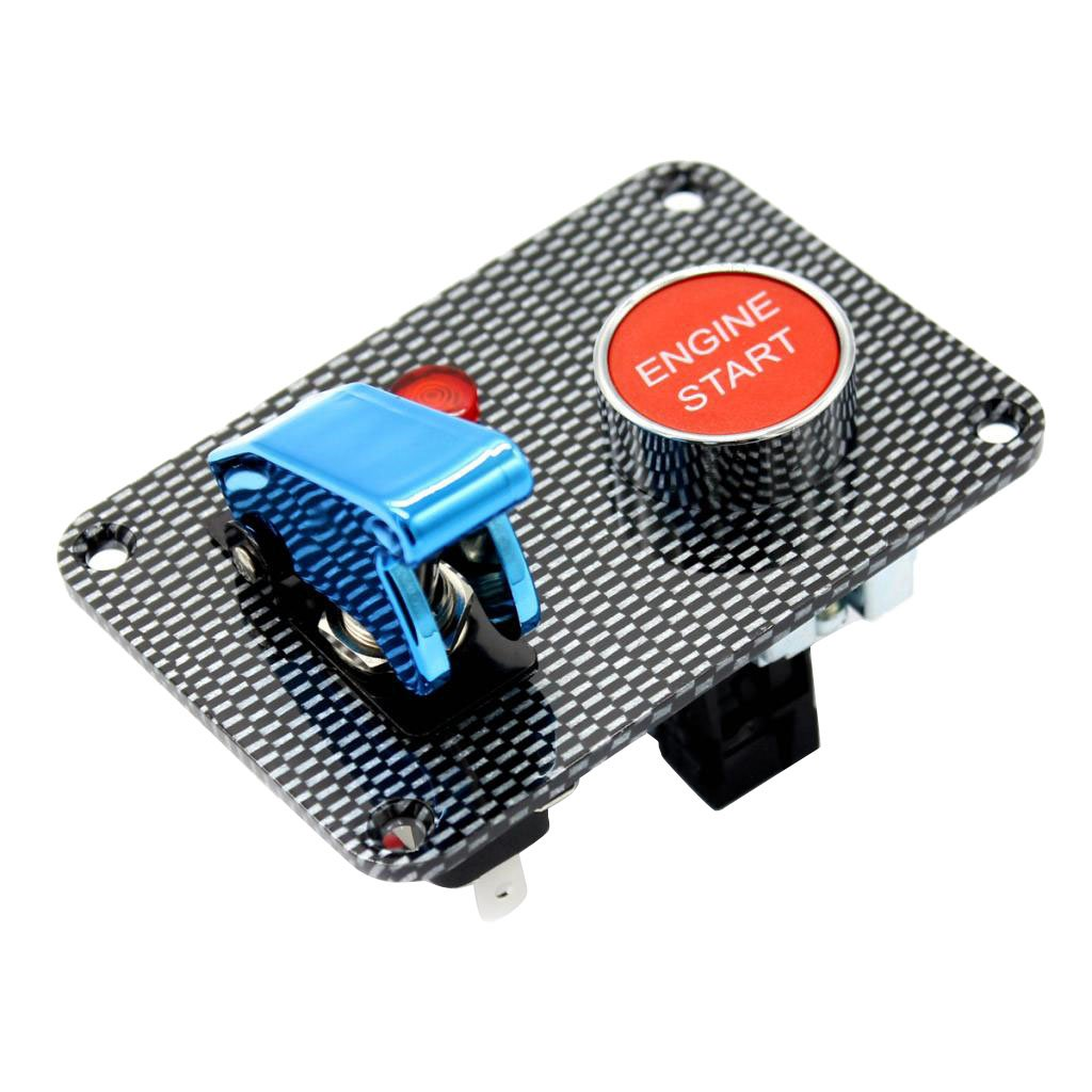 MagiDeal Auto Car Marine Boat RV Start Push Button + Toggle Switch with Cover Panel - Blue non-brand