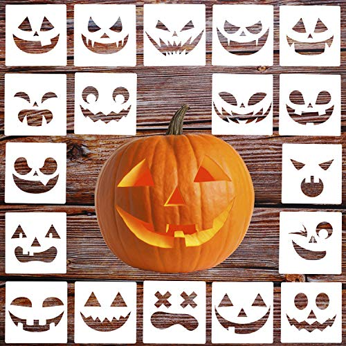 LOCOLO 18 Pieces Halloween Stencils Halloween Pumpkin Smiley Face Drawing Templates 5.3 x 5.3 Inches (The Best Pumpkin Faces)