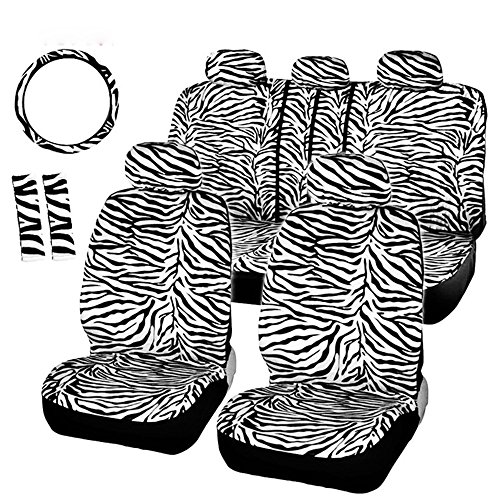 - AUTOFAN Zebra Car Seat Cover Set with 2 Seat Belt Pads & Universal 15 Inch Steering Wheel Cover Fit for Car, Truck, SUV, or Van