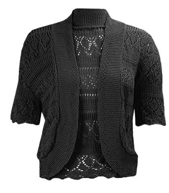 d2e41c7c422 J12 NEW WOMENS KNITTED BOLERO SHRUG CROCHET CROPPED CARDIGAN LADIES PLUS  SIZE TOP. (M/L (UK 12-14), BLACK): Amazon.co.uk: Clothing