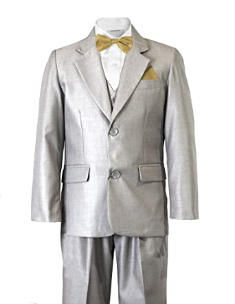 a3754809a538 Boys Light Grey 2 Button Notch Wedding Tuxedo Suit with ANTGOLD Bow And  Pocket Square