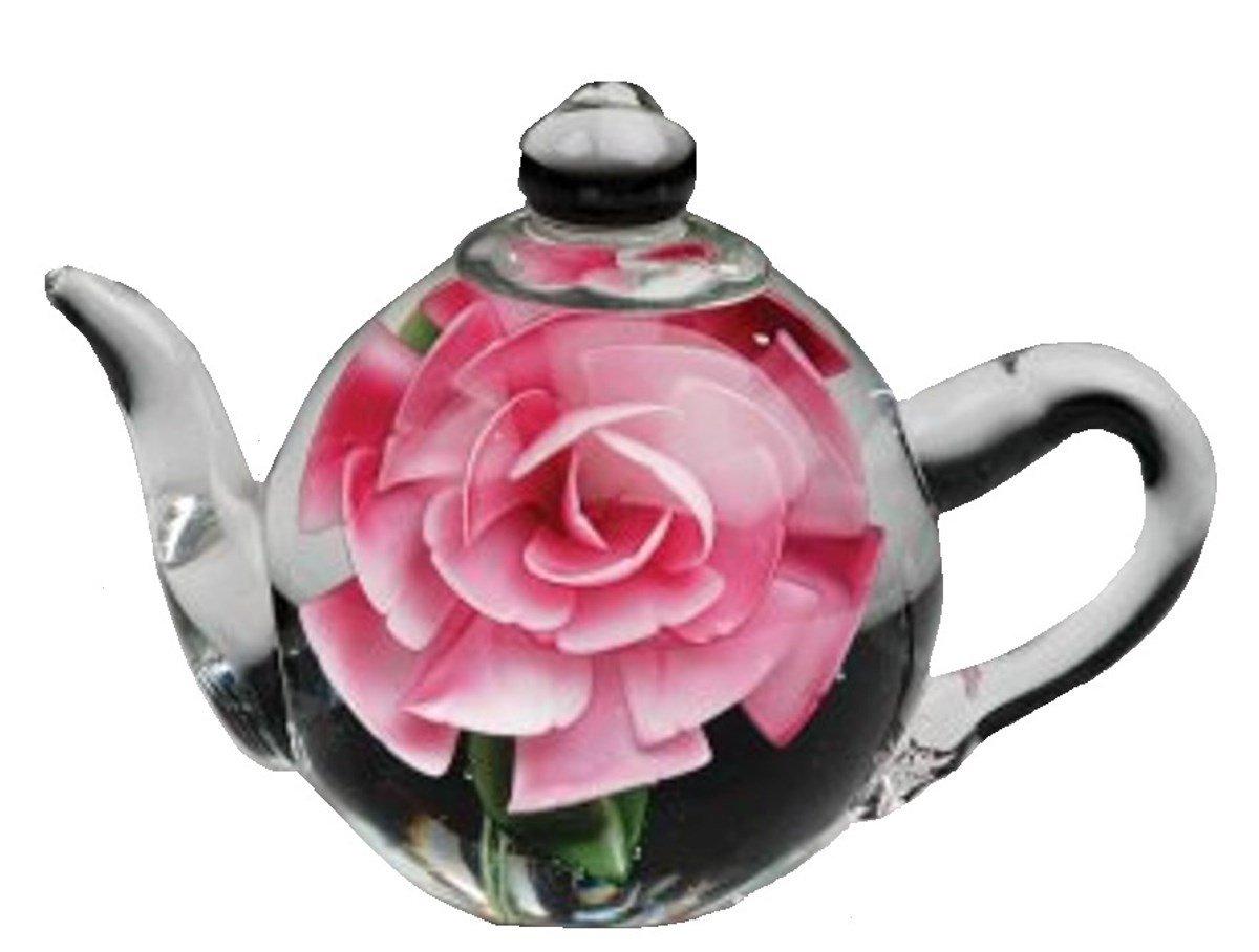 Glas Teekanne Briefbeschwerer mit Rosa Rosa B00022FNXK | Mangelware