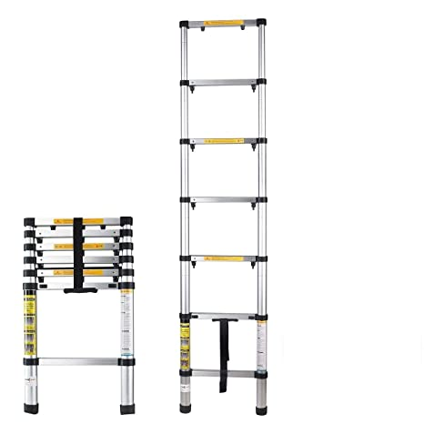 Magnificent Bemall Stable Aluminium Folding 7 Steps Telescopic Ladder Download Free Architecture Designs Ferenbritishbridgeorg