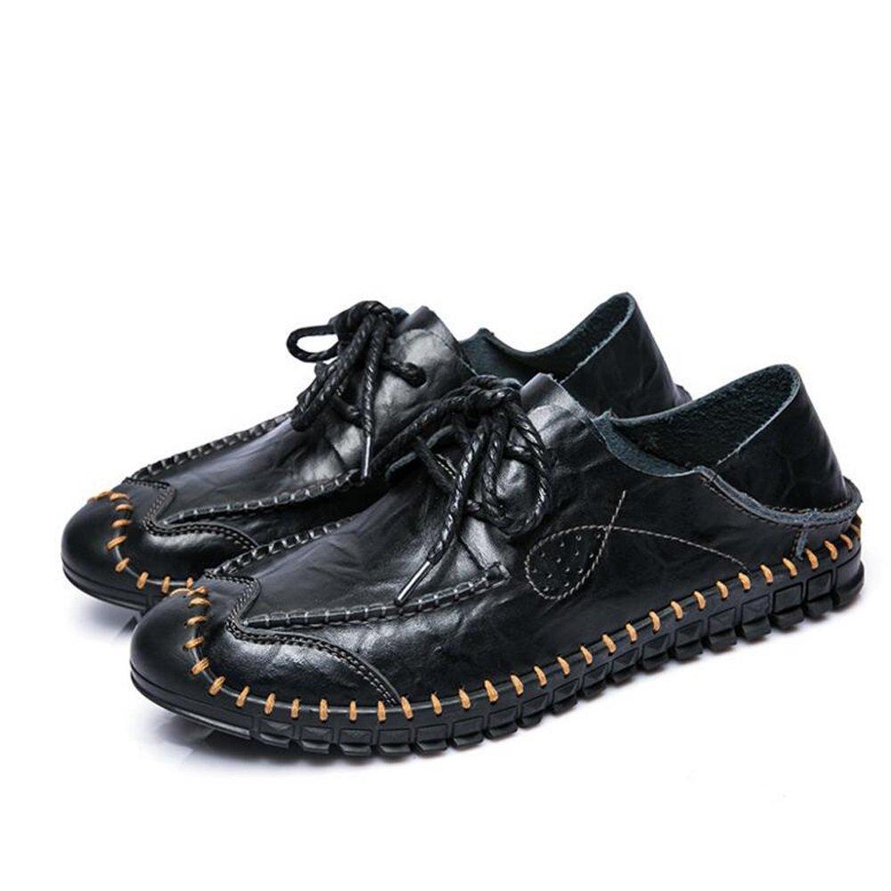 Zapatos de hombre de cuero Primavera Verano Hecho a mano de cuero nuevo Zapatos ocasionales de los hombres Comfort Mocasines y Slip-Ons Para Casual Oficina y Carrera Negro Marrón GAOLIXIA ( Color : Black , tamaño : 40 ) 40|Black