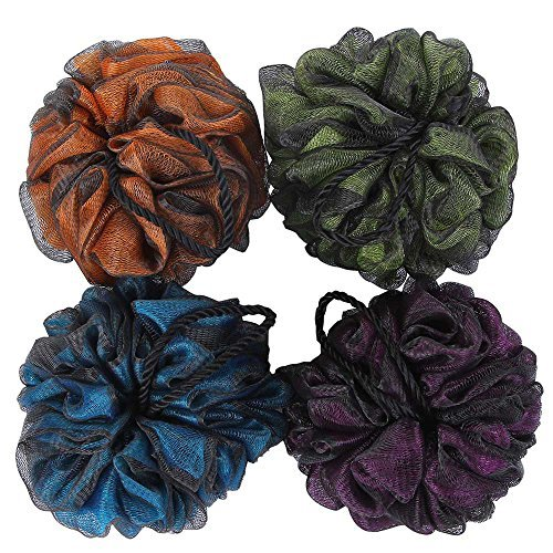 Loofah Bath and Shower Sponge Pouf,Mesh Brush Ball Exfoliating Body Scrubber Ball Pack of 4(60g/pcs)