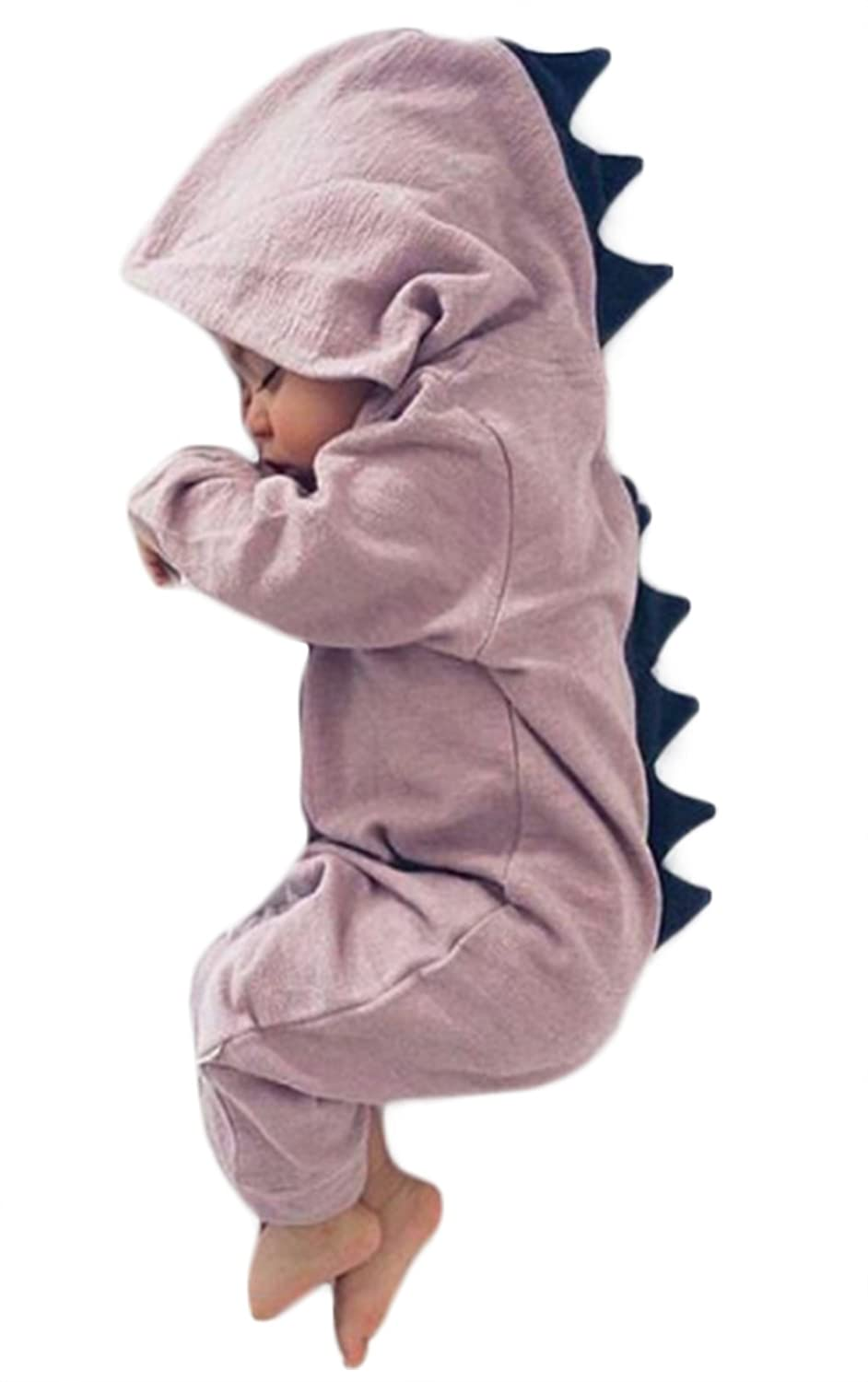 Baby Boy Girl Long Sleeve Cartoon Dinosaur Hooded Romper Cotton Jumpsuit Outfits FAYALEQ FA992