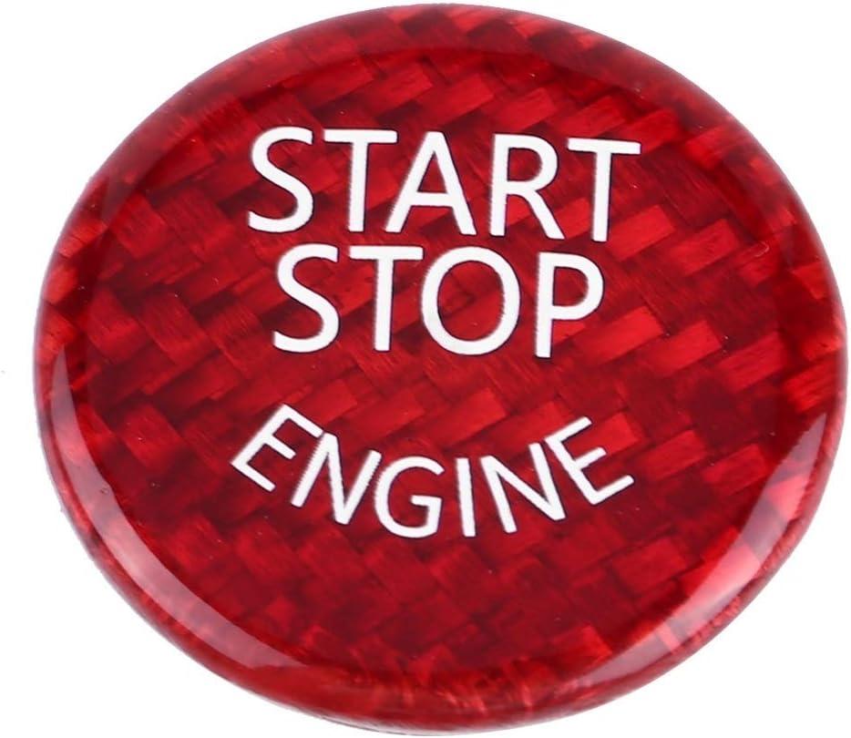 Rouge en Fibre de Carbone Voiture Moteur Start Stop Button Switch Cover for B-M-W S/érie 1-7 X1 X3-X6 Start Stop Button KSTE Start Button