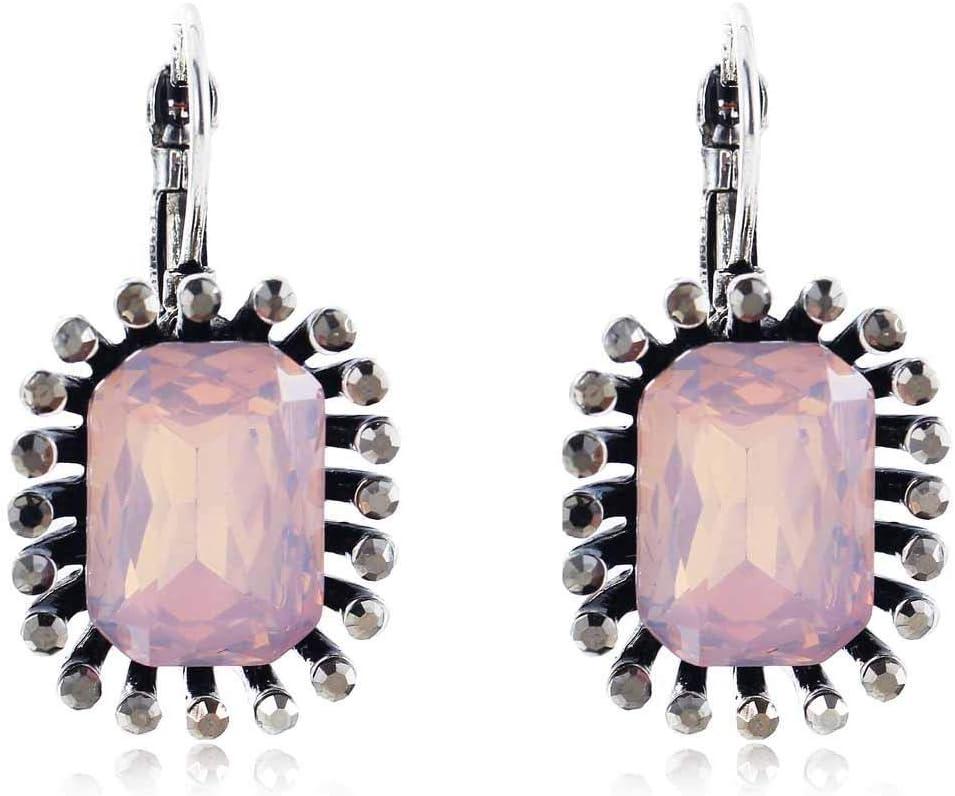 Erin Pendientes De Diamantes De Imitación Negros De Cristal Opal Rosa Pendientes De Plata Antigua para Mujer Pendientes De Piedras Preciosas para Mujer
