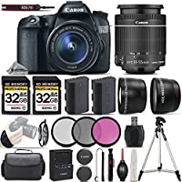 Canon EOS 70D DSLR Camera + Canon 18-55mm IS STM Lens + 0.43X Wide Angle Lens + 2.2x Telephoto Lens + 2 Of 32GB Memory Card + Backup Battery + 3PC Filter Kit (UV-CPL-FLD) - International Version
