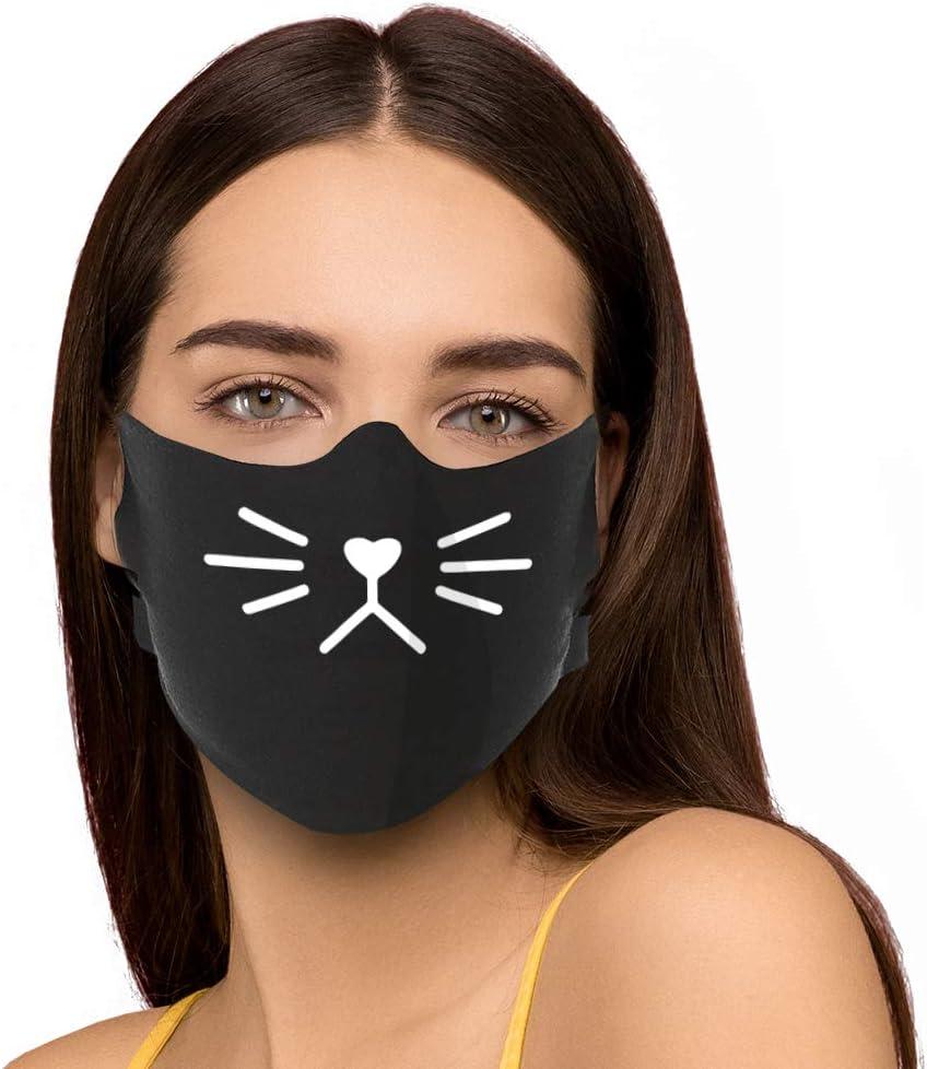 HYPSHRT Unisex Behelfsmaske Baumwolle f/ür Mund und Nase waschbar Bedruckt 3er Set Einheitsgr/ö/ße schwarz