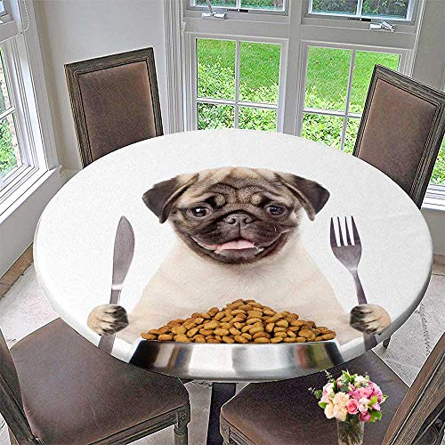 (PINAFORE HOME Round Fitted Tablecloth Pug with Bowl of Dry Dog Food hs a Knife and Fork for All Occasions 55