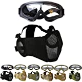 Outgeek Airsoft Mask, Lower Steel Mesh Mask Protective Half Face Mask UV Protection Glasses Comfortable and Cool Mask…