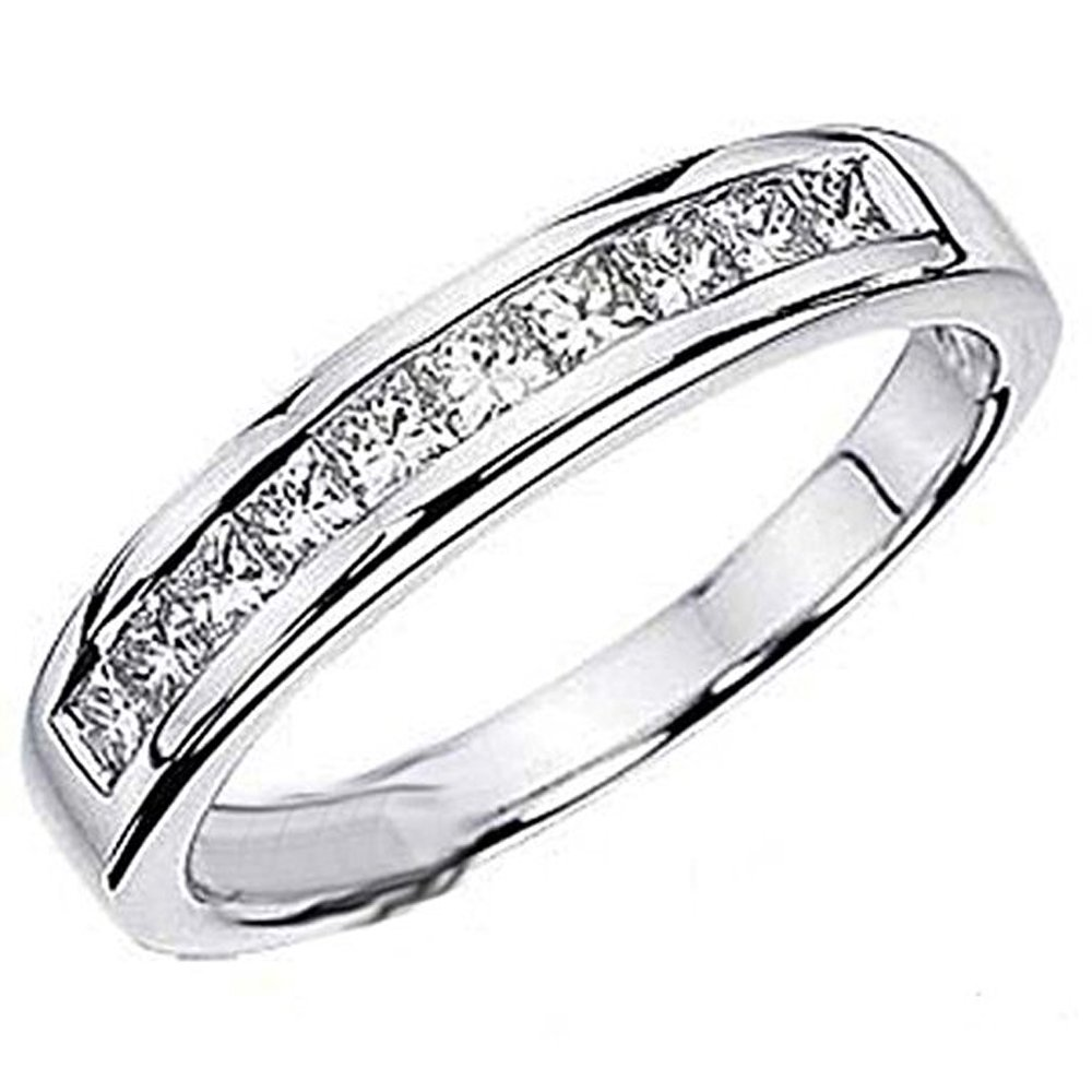 0.75 Carat (ctw) 14k White Gold Princess Diamond Ladies Anniversary Wedding Stackable Ring Band 3/4 CT (Size 5.5)