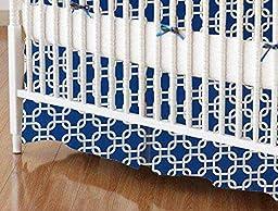 SheetWorld - MINI Crib Skirt (24 x 39) - Royal Blue Links - Made In USA