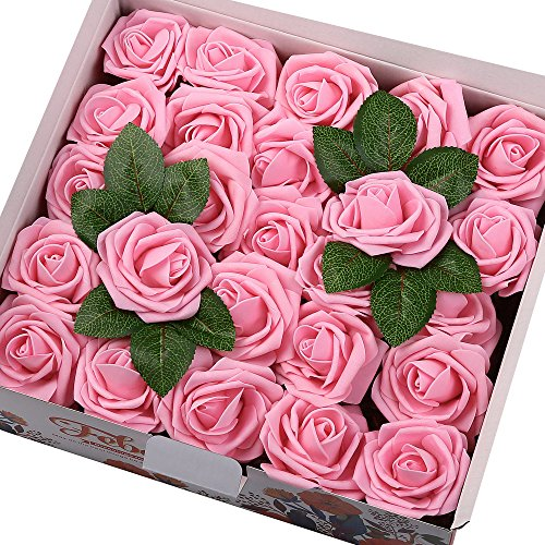 Febou Artificial Flowers 50pcs Real Touch Artificial Roses Decoration DIY for Wedding Bridesmaid Bridal Bouquets Centerpieces Party Decoration Home Display Office Decor Standard Type Hot Pink