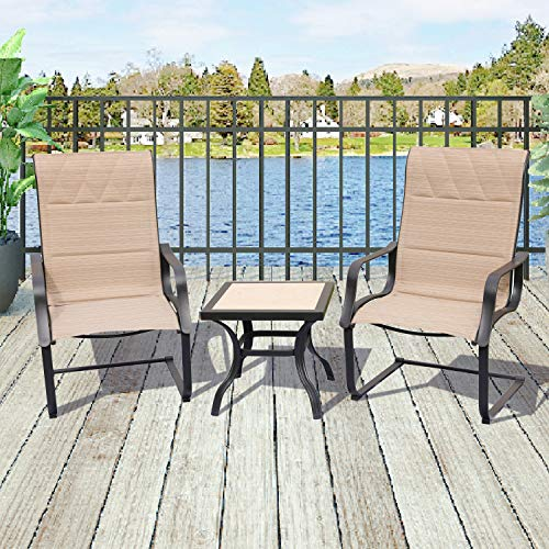 Top Space Outdoor Springs Motion Chairs and Coffee Table Bistro Furniture Set,3PCs Beige