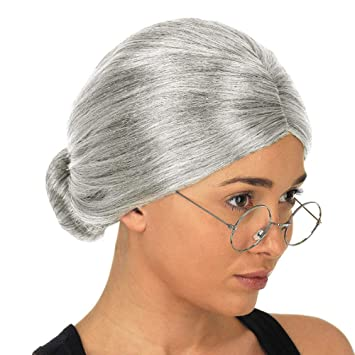 Grandma Wig Old Lady Silver Granny Wigs Cosplay Costume Party Woman Y