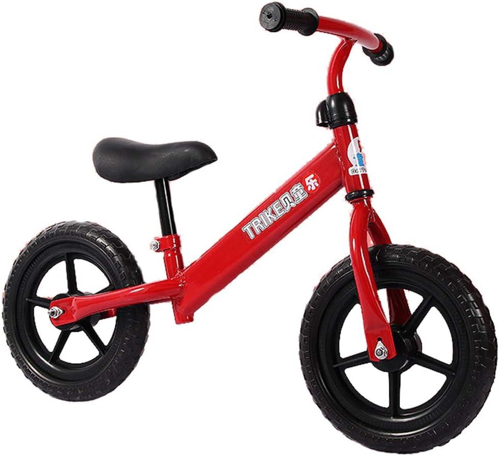 Bicicleta de Equilibrio para niños de 12 Pulgadas con reposapiés para niñas de 1-5 años, Bicicleta Push para niños pequeños con neumático de Espuma EVA, (Azul, Blanco, Rojo),Red