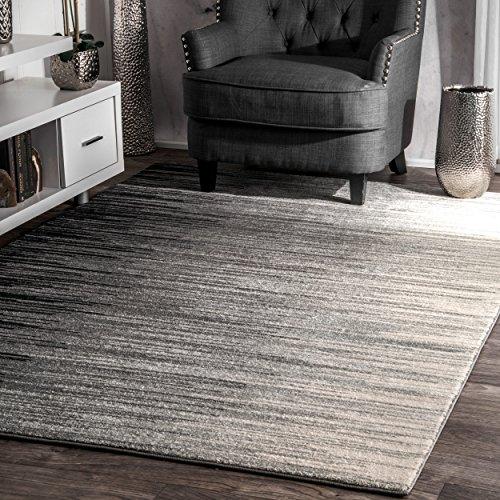 nuLOOM Black Geometric Abstract Stripes Fancy Rug, 8 Feet by 10 Feet