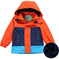HILEELANG Kids Boy Girl Waterproof Fleece Hooded Rain Jacket Coat Warm Windbreaker Softshell Outwear